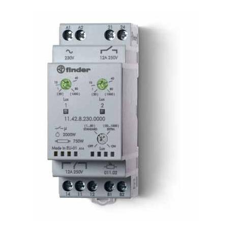 Wyłącznik zmierzchowy 2  zestyki przełączny i zwierny (1P+1Z 12A), 230V AC, niezależne wyjścia i dwie niezależne nastawy, obudow