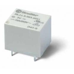 Miniaturowy przekaźnik do obwodów drukowanych 1Z 10A 24V DC styki AgSnO2, wykonanie szczelne RTIII, 36.11.9.024.4311