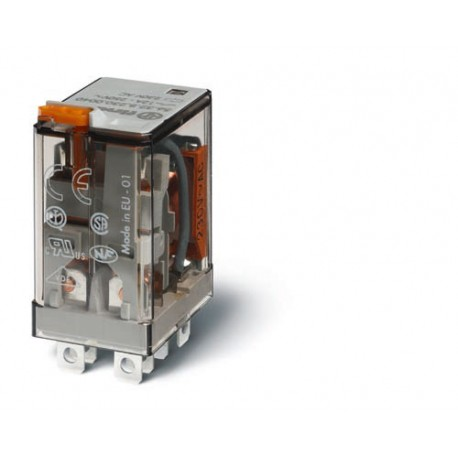 Przekaźnik 2P 12A 230V AC, przycisk testujący, LED, mechaniczny wskaźnik zadziałania