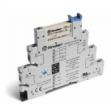 Wąskoprofilowy moduł czasowy 6,2mm wielofunkcyjny – AI, DI, GI, SW 1P 6A 12VAC/DC, styki AgNi, montaż na szynie DIN 35mm