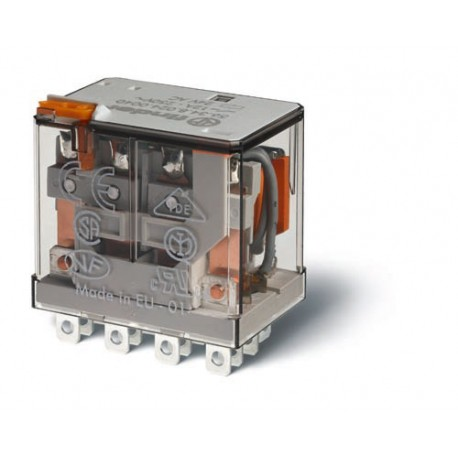 Przekaźnik 4P 12A 24V DC, styk AgSnO2, przycisk testujący
