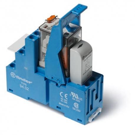 Przekaźnikowy moduł sprzęgający 27mm, 2P 10A 12VAC, styki AgNi,wskaźnik zadziałania mechaniczny, blokada zestyków, przycisk  tes