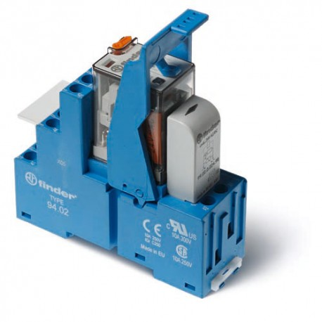 Przekaźnikowy moduł sprzęgający 27mm, 2P 10A 48VDC, styki AgNi,wskaźnik zadziałania mechaniczny, blokada zestyków, przycisk  tes