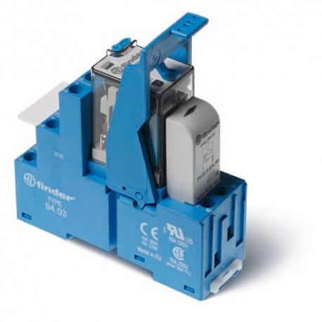 Przekaźnikowy moduł sprzęgający 27mm, 3P 10A 24VAC, styki AgNi, przycisk  testu,  zaciski śrubowe, montaż na szynie DIN 35mm