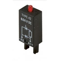 Moduł EMC, LED zielony+warystor 6...24VAC/DC