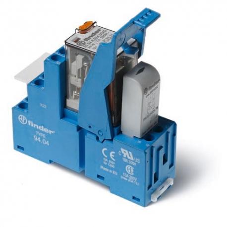 Przekaźnikowy moduł sprzęgający 27mm, 4P 7A 125VDC, styki AgNi,wskaźnik zadziałania mechaniczny, blokada zestyków, przycisk  tes