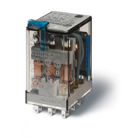 Przekaźnik 3P 10A 24V DC, styk AgNi+Au, przycisk testujący