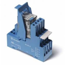 Przekaźnikowy moduł sprzęgający 27mm, 2P 10A 12VDC, styki AgNi,wskaźnik zadziałania mechaniczny, blokada zestyków, przycisk  tes