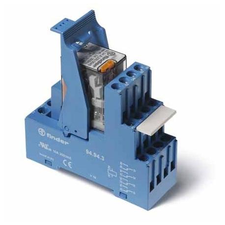Przekaźnikowy moduł sprzęgający 27mm, 4P 7A 230VAC, styki AgNi,wskaźnik zadziałania mechaniczny, blokada zestyków, przycisk  tes