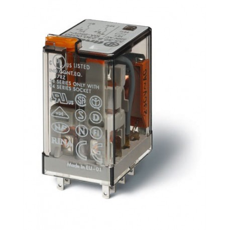 Przekaźnik 2P 10A 230V AC, styk AgNi+Au, przycisk testujący, LED, mechaniczny wskaźnik zadziałania