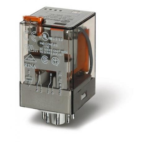 Przekaźnik 2P 10A 24V DC, przycisk testujący, LED + dioda, mechaniczny wskaźnik zadziałania