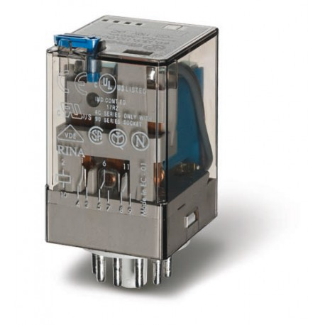 Przekaźnik 3P 10A 24V DC, styk AgNi+Au, przycisk testujący, mechaniczny wskaźnik zadziałania