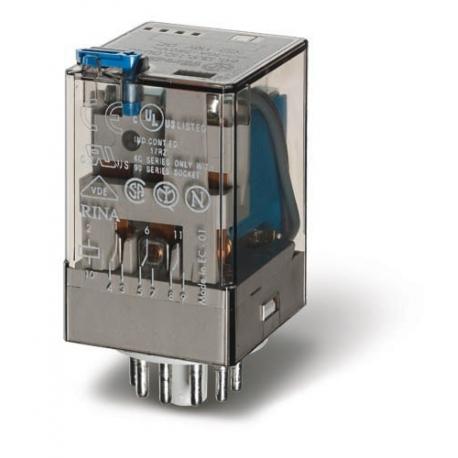 Przekaźnik 3P 10A 60V DC, przycisk testujący, LED + dioda, mechaniczny wskaźnik zadziałania