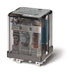 Przekaźnik 2P 16A 12V DC, do gniazd lub Faston 187, przycisk testujący, mechaniczny wskaźnik zadziałania