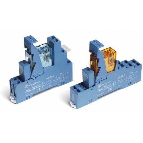 Przekaźnikowy moduł sprzęgający 15,5mm, 2P 8A 12VDC, styki AgNi, zaciski śrubowe, montaż na szynę DIN 35mm,