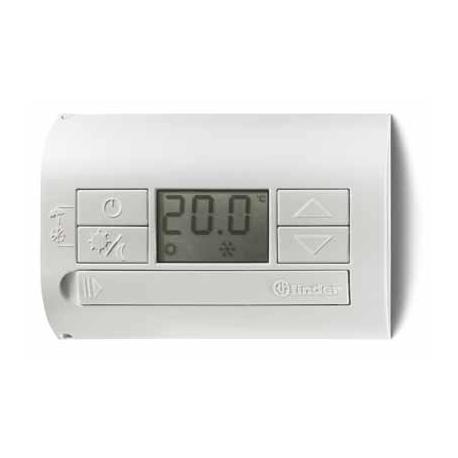Termostat elektroniczny biały- perłowy, wyświetlacz LCD funkcja dzień – noc/lato – zima, 1P 5A 230V, zasilanie bateryjne 2x1,5V