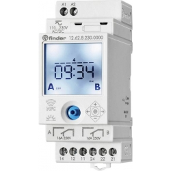 Programowalny zegar dzienny i tygodniowy 2 styki Przełączne, 230 V AC, programowanie ta