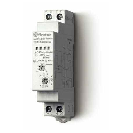Elektroniczny przekaźnik impulsowy ze ściemniaczem, 500W 50Hz, obudowa instalacyjna (1S 17,5 mm), kompatybilny ze  świetlówkami