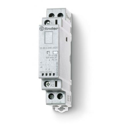 Stycznik modułowy  2 rozwierne 25A, wskaźnik zadziałania + LED, 17,5mm