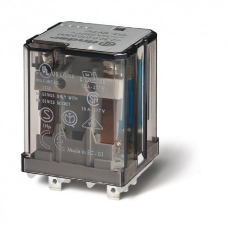 Przekaźnik 2P 16A 24V DC, do gniazd lub Faston 187, przycisk testujący, LED + dioda, mechaniczny wskaźnik zadziałania