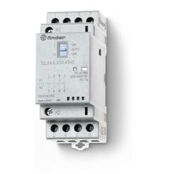 Stycznik modułowy  4 zwierne 25A, funkcja  Auto-On-Off, wskaźnik zadziałania + LED, 35mm, 22.34.0.230.4340