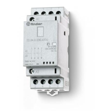 Stycznik modułowy 2 zwierne + 2 rozwierne 25A, wskaźnik zadziałania + LED, 35mm
