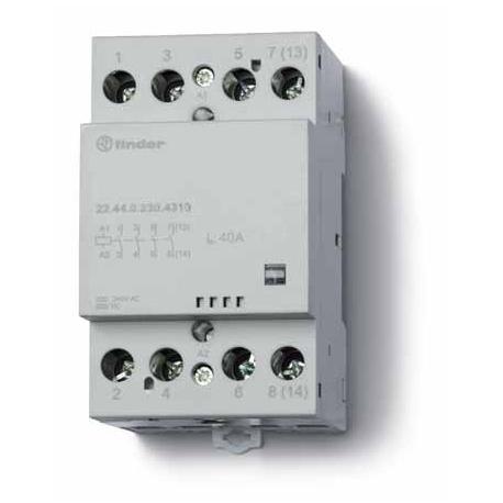Stycznik modułowy 2 zwierne 2 rozwierne 40A, wskażnik zadziałania, zasilanie cewki uniwersalne AC/DC