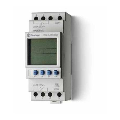 Programator tygodniowy elektroniczny, astronomiczny, 2 zestyki przełączne (2P 16A), 60 programów, minimalny 1 min, do programowa