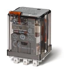 Przekaźnik 3P 16A 24V DC, do gniazda lub Faston 187, przycisk testujący, LED + dioda, mechaniczny wskaźnik zadziałania