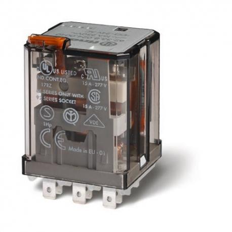 Przekaźnik 3P 16A 24V DC, do gniazda lub Faston 187, styk AgSnO2, przycisk testujący, mechaniczny wskaźnik zadziałania