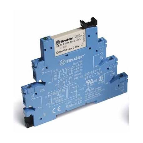Przekaźnikowy moduł sprzęgający 1P 6A 24V DC, Styk AgNi+Au