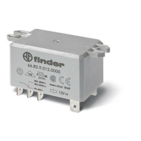 Przekaźnik 2P 30A 12V DC, na panel, Faston 250
