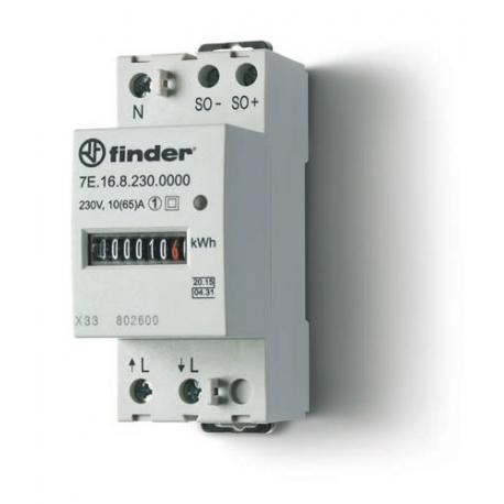 Licznik energii elektromechaniczny1 faz. 10/65A – 230VAC, wyjście impulsowe SO (5...30VDC), szerokość 35mm, montaż na szynie DIN