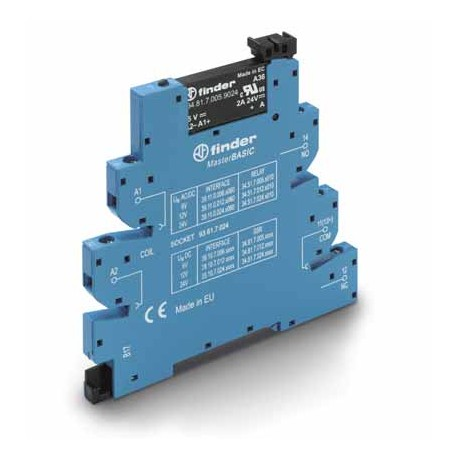 Przekaźnikowy moduł sprzęgający 6,2mm MasterBASIC, SSR wyj. 2A / 24VDC  zasil. 12VDC ,  zaciski śrubowe, montaż na szynie DIN 35