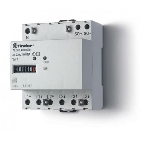 Licznik energii elektromechaniczny 3faz. 10/65A – 3x230VAC, wyjście impulsowe SO(5...30VDC), szerokość 70mm, montaż na szynie DI