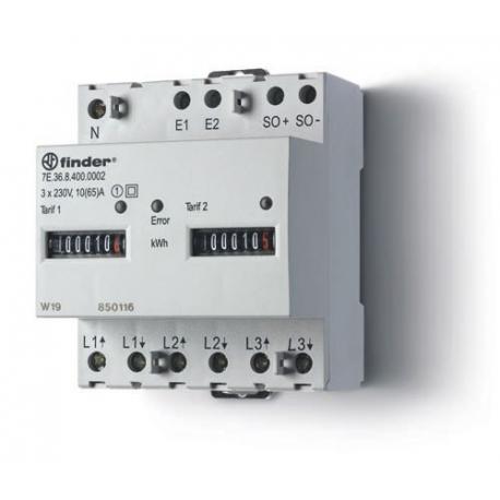 Licznik energii elektromechaniczny2 taryfowy -  3faz. 10/65A – 3x230VAC, wyjście impulsowe SO(5...30VDC), szerokość 70mm, montaż