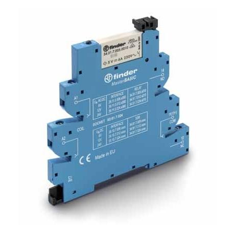 Przekaźnikowy moduł sprzęgający 6,2mm MasterBASIC,1P 6A 12VAC/DC, styki AgNi ,  zaciski śrubowe, montaż na szynie DIN 35mm