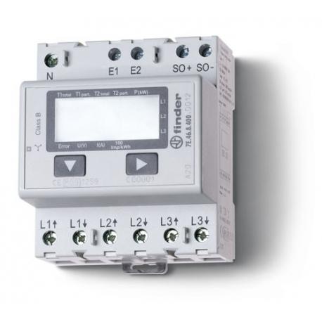 Licznik energii elektroniczny (wyświetlacz LCD) 3faz. 10/65A – 3x230VAC, wyjście impulsowe SO(5...30VDC), szerokość 70mm, montaż