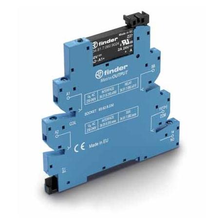 Przekaźnikowy moduł sprzęgający 6,2mm MasterOUTPUT, SSR wyj. 2A / 24VDC  zasil.24VDC ,  zaciski śrubowe, montaż na szynie DIN 35