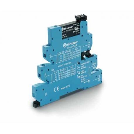 Przekaźnikowy moduł sprzęgający 6,2mm MasterPLUS, SSR wyj. 2A / 24VDC  zasil.24VDC ,  zaciski śrubowe, montaż na szynie DIN 35mm