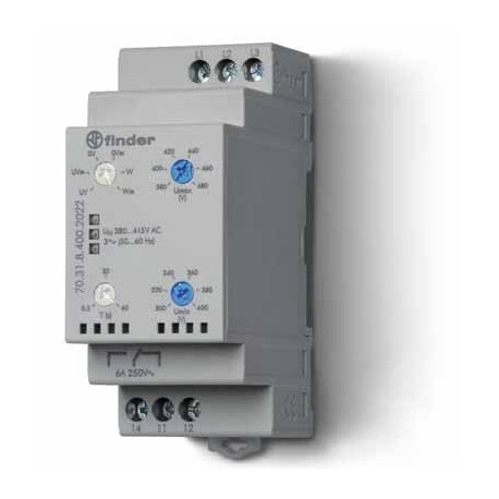 Przekaźnik kontroli napięcia 3faz., kontrola zaniku faz, rotacji, zakres napięcia regulowany, pamięć błędów 1P 6A 380…415V AC
