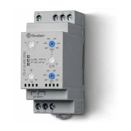 Przekaźnik kontroli napięcia 3-faz. + kontrola N., kontrola zaniku faz, rotacji, asymetria, zakres napięcia regulowany, P 6A 380