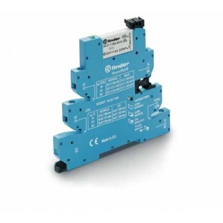 Przekaźnikowy moduł sprzęgający 6,2mm MasterPLUS – wykonanie do LINII DŁUGICH, 1P 6A 230...240VAC, styki AgNi ,  zaciski śrubowe