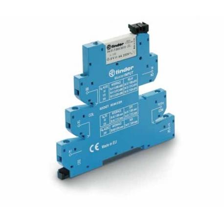 Przekaźnikowy moduł sprzęgający 6,2mm MasterINPUT,1P 6A 12VAC/DC, styki AgNi+Au (5um pow. złota na zestyku) ,  zaciski śrubowe,