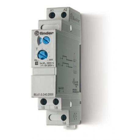 Przekaźnik czasowy jednofunkcyjny BI,  sterowanie 24...240VAC/DC, wyjście przekaźnik 1P 8A 250V, szerokość 17,5mm, montaż na szy
