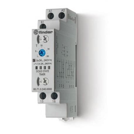 Przekaźnik czasowy wielofunkcyjny AI, DI, SW, BE, CE, DE, sterowanie 24...240VAC/DC, wyjście SSR OC – 1A 24...240VAC/DC, szeroko