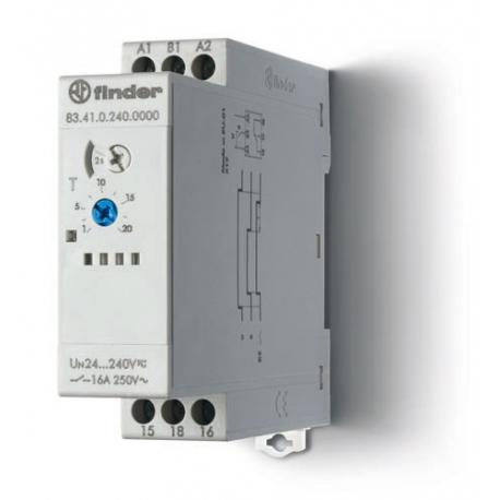Przekaźnik czasowy jednofunkcyjny BE, zakresy czasowe od 0,05s do 10dni, sterowanie 24...240VAC/DC, wyjście przekaźnik 1P 16A 25