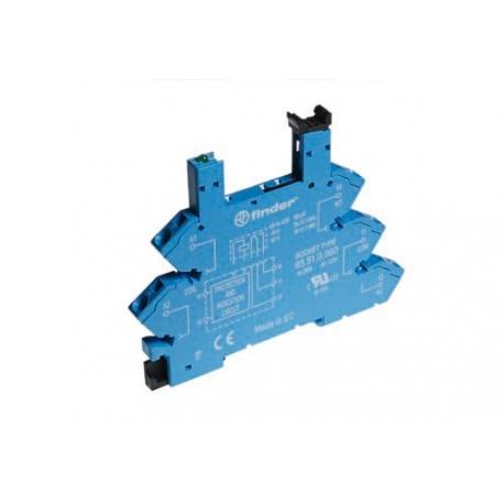 Wąskoprofilowe gniazdo 6,2mm do przekaźników serii 34, 48...60VDC,  zaciski sprężynowe (samozacisk), montaż na szynę DIN