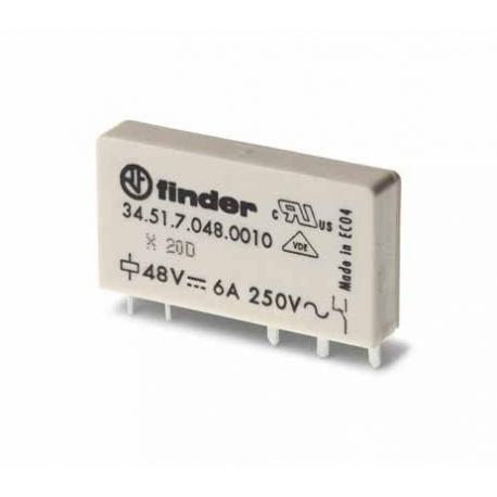 Przekaźnik 1P 6A 48V DC, Styk AgNi+Au