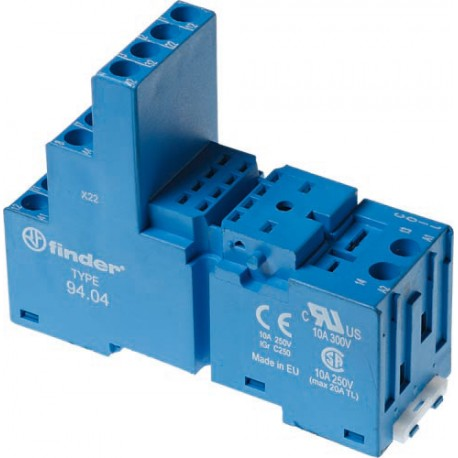 Gniazdo do serii 55.32/55.34/85.02/85.04, modułów 86.30, modułów 99.02, zaciski śrubowe, montaż na szynę DIN 35mm, (kip plastiko